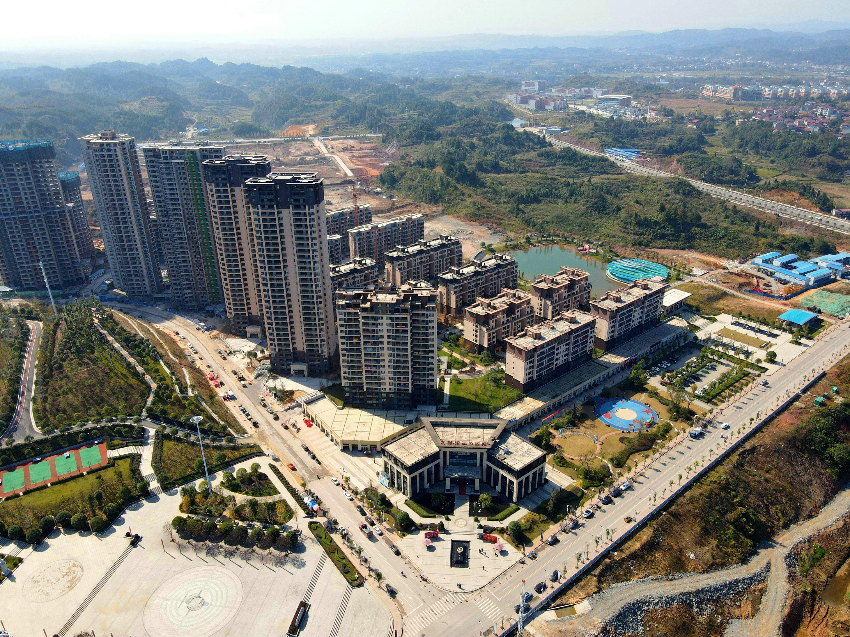 龙创滨江公园城2020年11月高空航拍